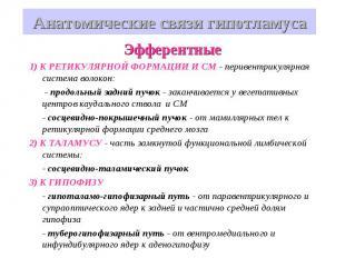 Анатомические связи гипотламуса Эфферентные 1) К РЕТИКУЛЯРНОЙ ФОРМАЦИИ И СМ - пе