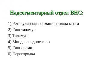 Надсегментарный отдел ВНС: 1) Ретикулярная формация ствола мозга 2) Гипоталамус