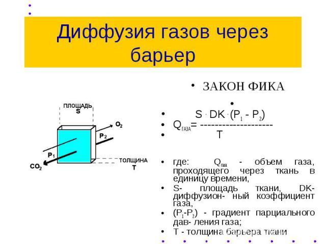 Диффузия газов через барьер ЗАКОН ФИКА S . DK . (P1 - P2) QГАЗА= -------------------- T где: Qгаза - объем газа, проходящего через ткань в единицу времени, S- площадь ткани, DK-диффузион- ный коэффициент газа, (Р1-Р2) - градиент парциального дав- ле…