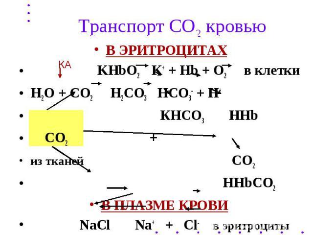 Транспорт СО2 кровью В ЭРИТРОЦИТАХ KHbO2 K+ + Hb + O2 в клетки Н2О + СО2 Н2СО3 НСО3- + Н+ КНСО3 ННb СО2 + из тканей СО2 ННbCO2 В ПЛАЗМЕ КРОВИ NaCl Na+ + Cl- в эритроциты NaHCO3 HCO3- из эритроцитов