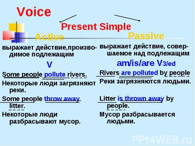 Active выражает действие,произво- димое подлежащим V Some people pollute rivers. Некоторые люди загрязняют реки. Some people throw away litter. Некоторые люди разбрасывают мусор.