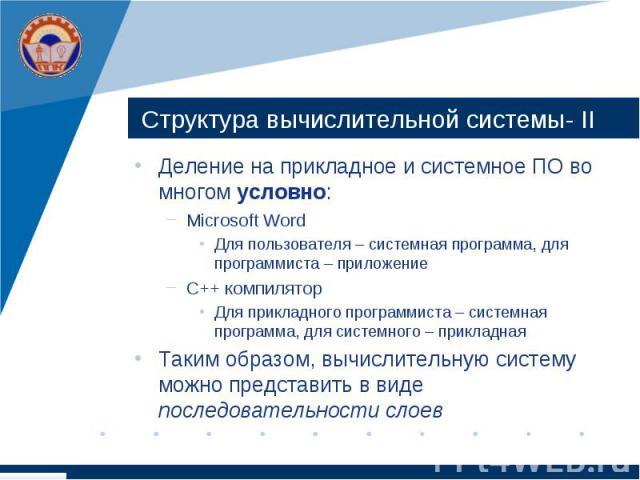 Структура вычислительной системы- ІІ Деление на прикладное и системное ПО во многом условно: Microsoft Word Для пользователя – системная программа, для программиста – приложение С++ компилятор Для прикладного программиста – системная программа, для …