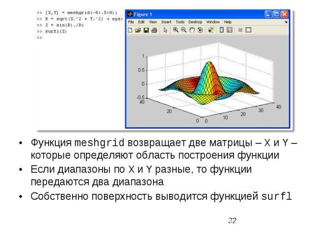 Функция meshgrid возвращает две матрицы – X и Y – которые определяют область построения функции Функция meshgrid возвращает две матрицы – X и Y – которые определяют область построения функции Если диапазоны по X и Y разные, то функции передаются два…