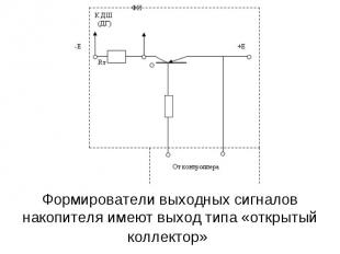 Формирователи выходных сигналов накопителя имеют выход типа «открытый коллектор»