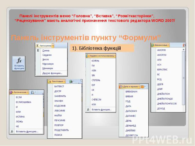 """Панель інструментів пункту """"Формули"""" Панелі інструментів меню """"Головна"""", """"Вставка"""", """"Розміткасторінки"""", """"Рецензування"""" мають аналогічні призначення текстового редактора WORD 2007/"""