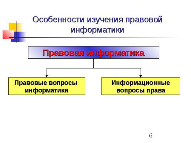 Особенности изучения правовой информатики