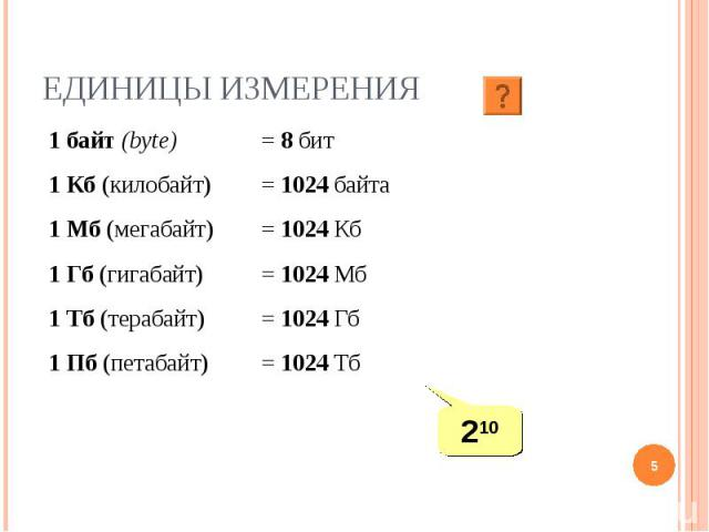 1 байт (bytе) = 8 бит 1 Кб (килобайт) = 1024 байта 1 Мб (мегабайт) = 1024 Кб 1 Гб (гигабайт) = 1024 Мб 1 Тб (терабайт) = 1024 Гб 1 Пб (петабайт) = 1024 Тб