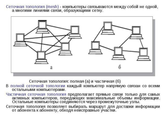 Сеточная топология (mesh) - компьютеры связываются между собой не одной, а многими линиями связи, образующими сетку. Сеточная топология (mesh) - компьютеры связываются между собой не одной, а многими линиями связи, образующими сетку. Сеточная тополо…