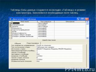 Презентация Курсовая работа на тему Разработка базы данных  слайда 2 Таблицы базы данных создаются на вкладке Таблицы в режиме конструктора Заполн