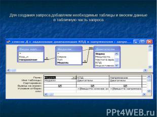 Для создания запроса добавляем необходимые таблицы и вносим данные в табличную ч