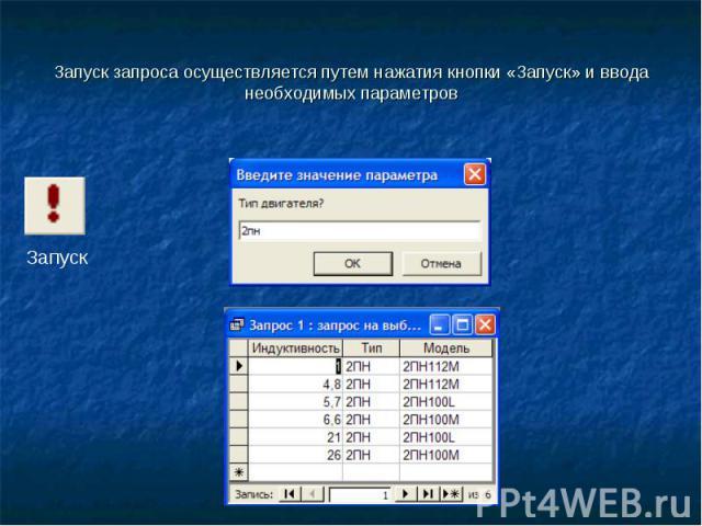 Запуск запроса осуществляется путем нажатия кнопки «Запуск» и ввода необходимых параметров