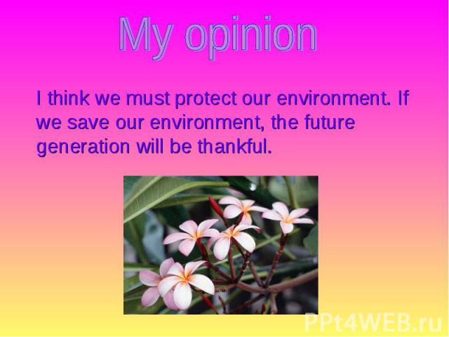 I think we must protect our environment. If we save our environment, the future generation will be thankful. I think we must protect our environment. If we save our environment, the future generation will be thankful.