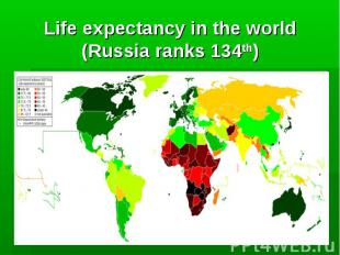 Life expectancy in the world (Russia ranks 134th)