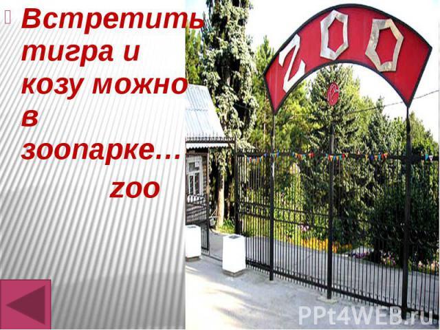 Встретить тигра и козу можно в зоопарке… Встретить тигра и козу можно в зоопарке… zoo