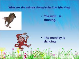 The wolf is running. The wolf is running. The monkey is dancing.