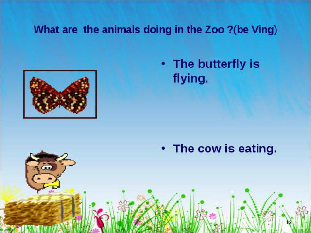 The butterfly is flying. The butterfly is flying. The cow is eating.
