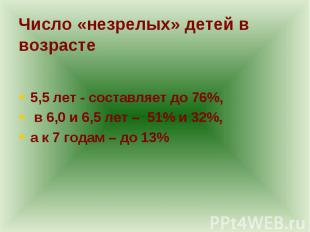 5,5 лет - составляет до 76%, в 6,0 и 6,5 лет – 51% и 32%, а к 7 годам – до 13%