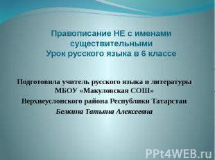 Правописание НЕ с именами существительными Урок русского языка в 6 классе Подгот