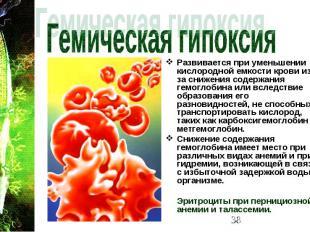 Развивается при уменьшении кислородной емкости крови из-за снижения содержания г