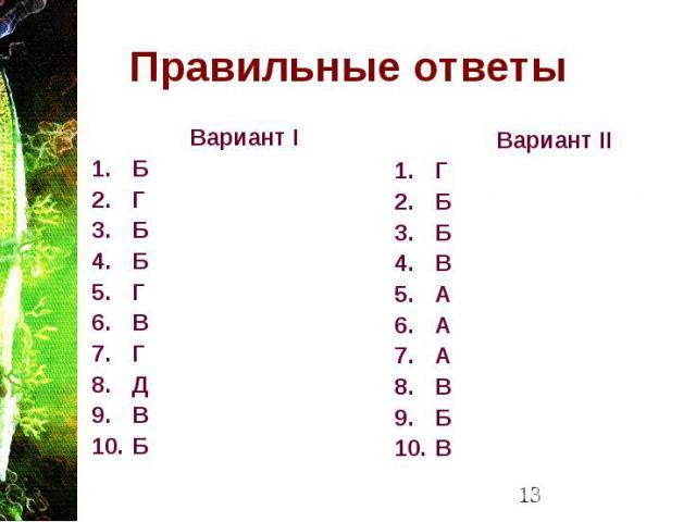 Правильные ответы Вариант I Б Г Б Б Г В Г Д В Б