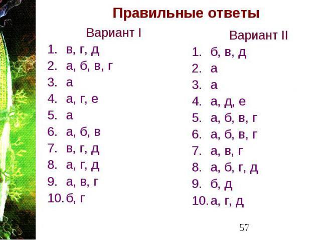 Правильные ответы Вариант I в, г, д а, б, в, г а а, г, е а а, б, в в, г, д а, г, д а, в, г б, г