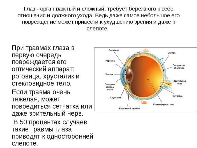 При травмах глаза в первую очередь повреждается его оптический аппарат: роговица, хрусталик и стекловидное тело. Если травма очень тяжелая, может повредиться сетчатка или даже зрительный нерв. В 50 процентах случаев такие травмы глаза приводят к одн…