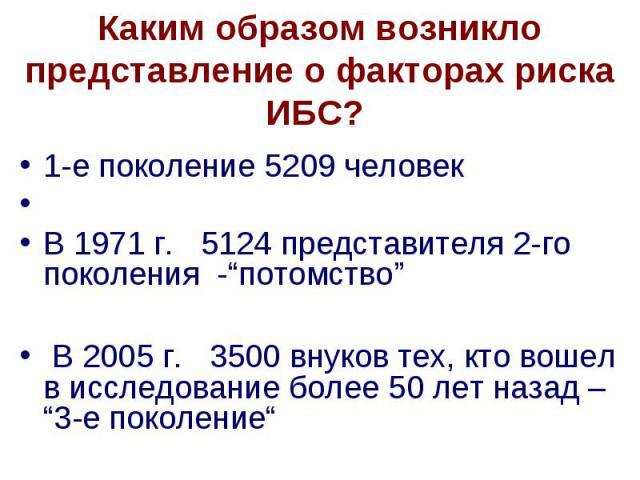 """Каким образом возникло представление о факторах риска ИБС? 1-е поколение 5209 человек В 1971 г. 5124 представителя 2-го поколения -""""потомство"""" В 2005 г. 3500 внуков тех, кто вошел в исследование более 50 лет назад – """"3-е поколение"""""""