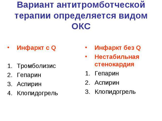 Вариант антитромботческой терапии определяется видом ОКС Инфаркт с Q Тромболизис Гепарин Аспирин Клопидогрель