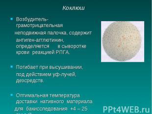 Коклюш Возбудитель-грамотрицательная неподвижная палочка, содержит антиген-агглю