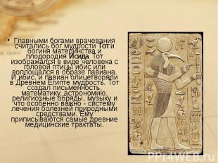 Главными богами врачевания считались бог мудрости Тот и богиня материнства и пло