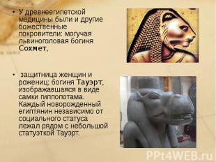 У древнеегипетской медицины были и другие божественные покровители: могучая льви