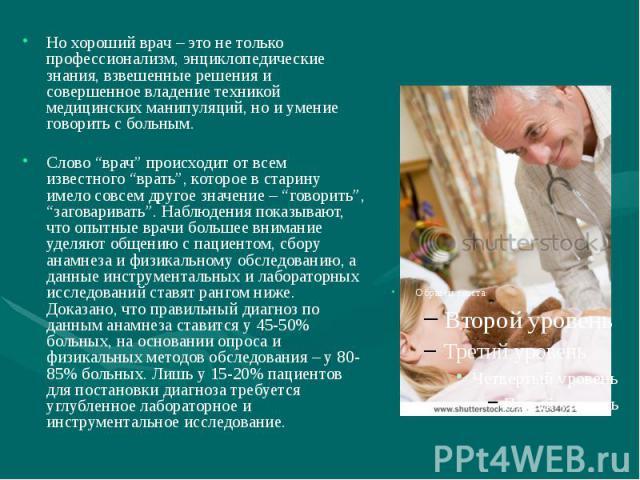 Но хороший врач – это не только профессионализм, энциклопедические знания, взвешенные решения и совершенное владение техникой медицинских манипуляций, но и умение говорить с больным. Но хороший врач – это не только профессионализм, энциклопедические…
