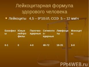 Лейкоцитарная формула здорового человека Лейкоциты 4,5 – 9*109\Л, СОЭ 5 – 12 мм\