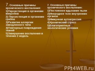 7. Основные причины хронического воспаления: 7. Основные причины хронического во