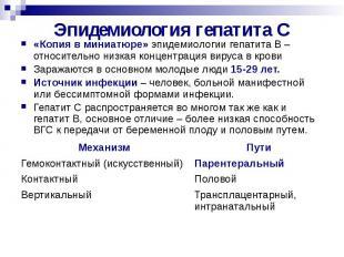 Эпидемиология гепатита С «Копия в миниатюре» эпидемиологии гепатита В –относител