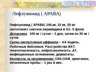 Лефлуномид ( АРАВА) Лефлуномид ( АРАВА) 100,мг, 10 мг, 20 мг (антогонист синтеза