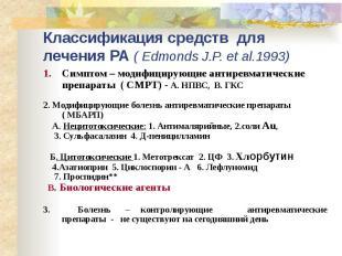 Классификация средств для лечения РА ( Edmonds J.P. et al.1993) Симптом – модифи