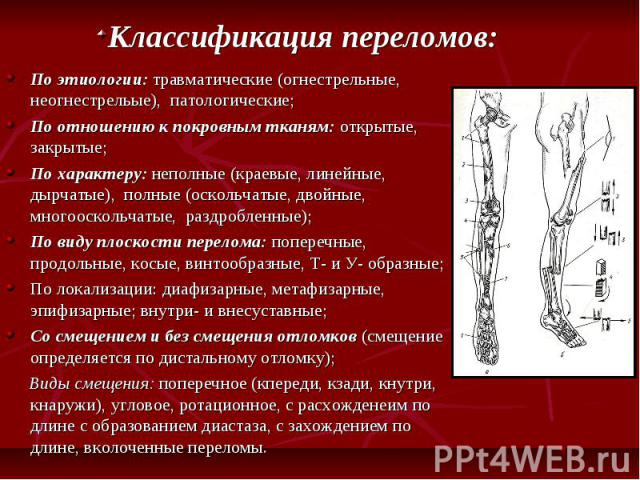 По этиологии: травматические (огнестрельные, неогнестрельые), патологические; По этиологии: травматические (огнестрельные, неогнестрельые), патологические; По отношению к покровным тканям: открытые, закрытые; По характеру: неполные (краевые, линейны…