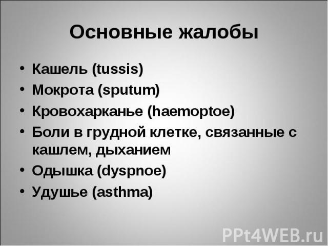 Кашель (tussis) Кашель (tussis) Мокрота (sputum) Кровохарканье (haemoptoe) Боли в грудной клетке, связанные с кашлем, дыханием Одышка (dуspnoe) Удушье (asthma)