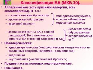 Классификация БА (МКБ 10). Аллергическая (есть признаки аллергии, есть экзоаллер