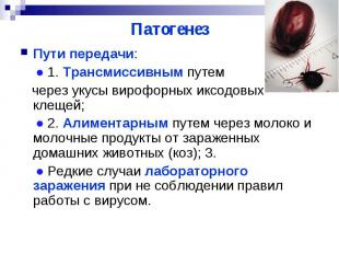 Патогенез Пути передачи: ● 1. Трансмиссивным путем через укусы вирофорных иксодо