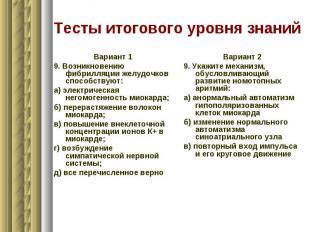 Тесты итогового уровня знаний Вариант 1 9. Возникновению фибрилляции желудочков