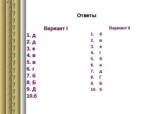 Ответы Вариант I д д е в в г б Б Д б