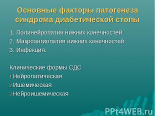 Основные факторы патогенеза синдрома диабетической стопы 1. Полинейропатия нижни