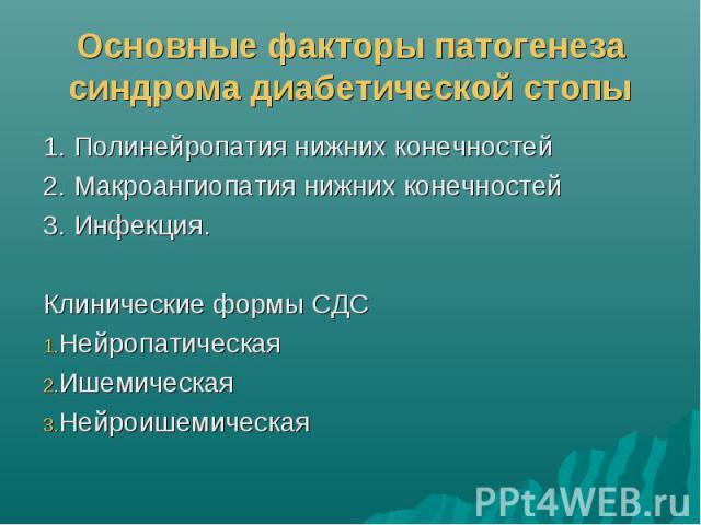 Основные факторы патогенеза синдрома диабетической стопы 1. Полинейропатия нижних конечностей 2. Макроангиопатия нижних конечностей 3. Инфекция. Клинические формы СДС Нейропатическая Ишемическая Нейроишемическая