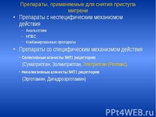 Препараты, применяемые для снятия приступа мигрени Препараты с неспецифическим м