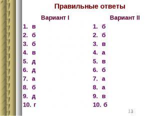 Правильные ответы Вариант I в б б в д д а б д г