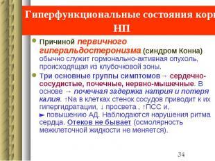 Гиперфункциональные состояния коры НП Причиной первичного гиперальдостеронизма (