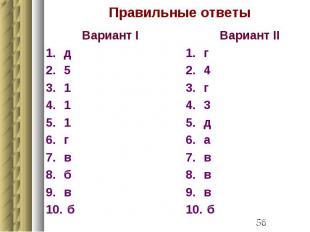 Правильные ответы Вариант I д 5 1 1 1 г в б в б