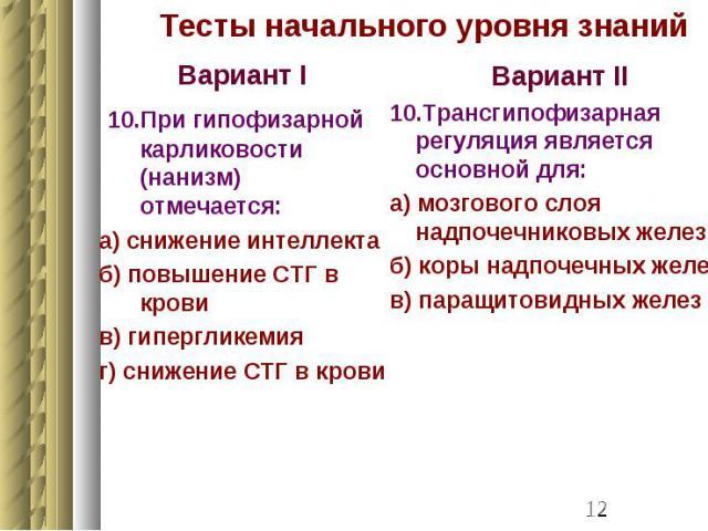 Тесты начального уровня знаний Вариант I 10.При гипофизарной карликовости (нанизм) отмечается: а) снижение интеллекта б) повышение СТГ в крови в) гипергликемия г) снижение СТГ в крови